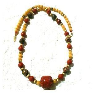 Vintage Carved Jasper & Quartz Bead Necklace